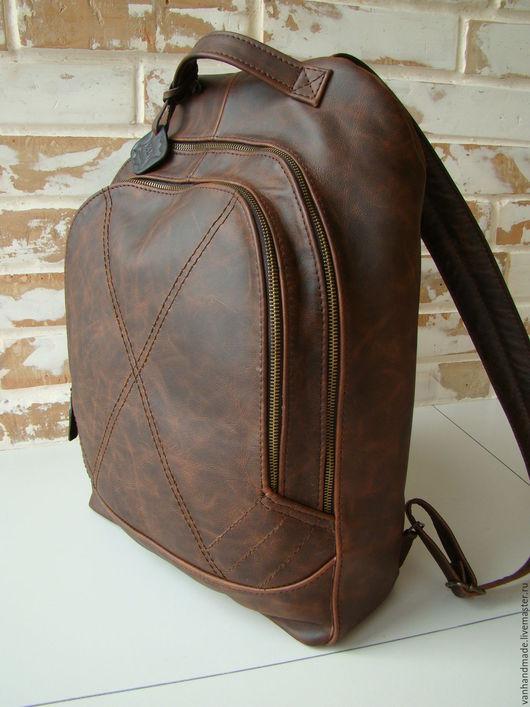 Рюкзаки ручной работы. Ярмарка Мастеров - ручная работа. Купить Стильный винтажный кожаный рюкзак. Handmade. Коричневый, винтаж