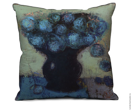 """Текстиль, ковры ручной работы. Ярмарка Мастеров - ручная работа. Купить наволочка """"синие розы"""". Handmade. Синий, розы, наволочка"""