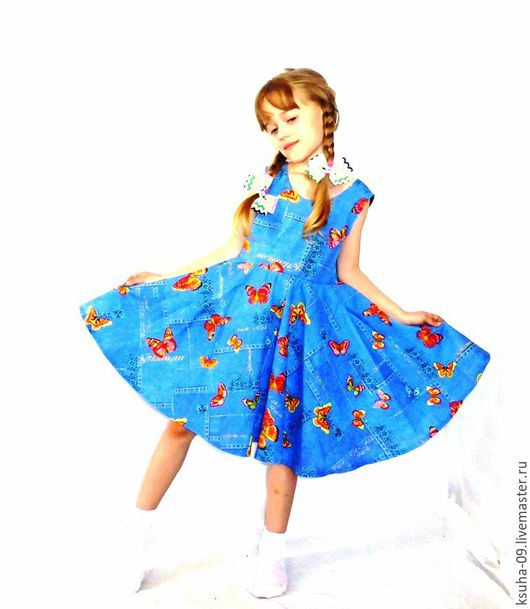 Одежда для девочек, ручной работы. Ярмарка Мастеров - ручная работа. Купить Платье из хлопка Бабочки 128-140 р. Handmade.