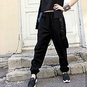 Одежда ручной работы. Ярмарка Мастеров - ручная работа Брюки Black Fog with Leather. Handmade.