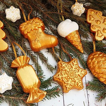 Сувениры и подарки ручной работы. Ярмарка Мастеров - ручная работа Подарочный набор новогодних игрушек. Handmade.