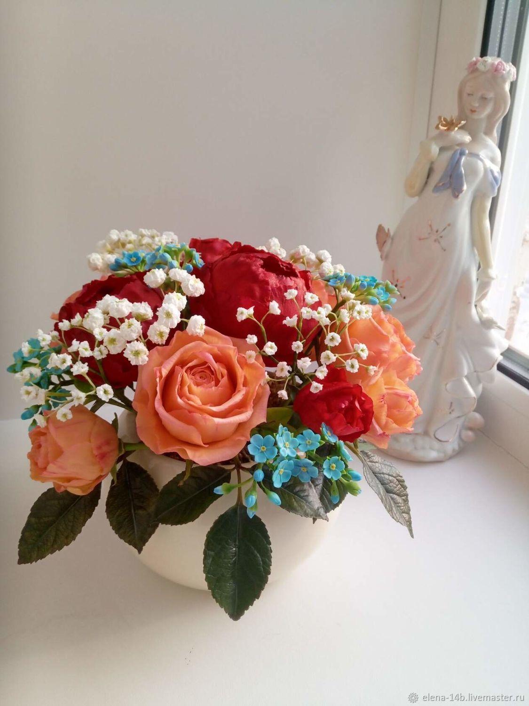 Букет роз в керамическом кашпо, Букеты, Бородино,  Фото №1