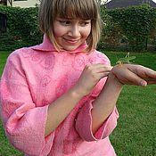 Одежда ручной работы. Ярмарка Мастеров - ручная работа розовая туника с рукавами и капюшоном. Handmade.