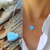 Necklace handmade. Livemaster - original item Heart pendant blue opal pendant on a chain spring tenderness. Handmade.
