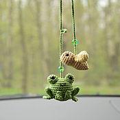 Сувениры и подарки handmade. Livemaster - original item Suspension in the car frog, frog toy, car ice gift. Handmade.