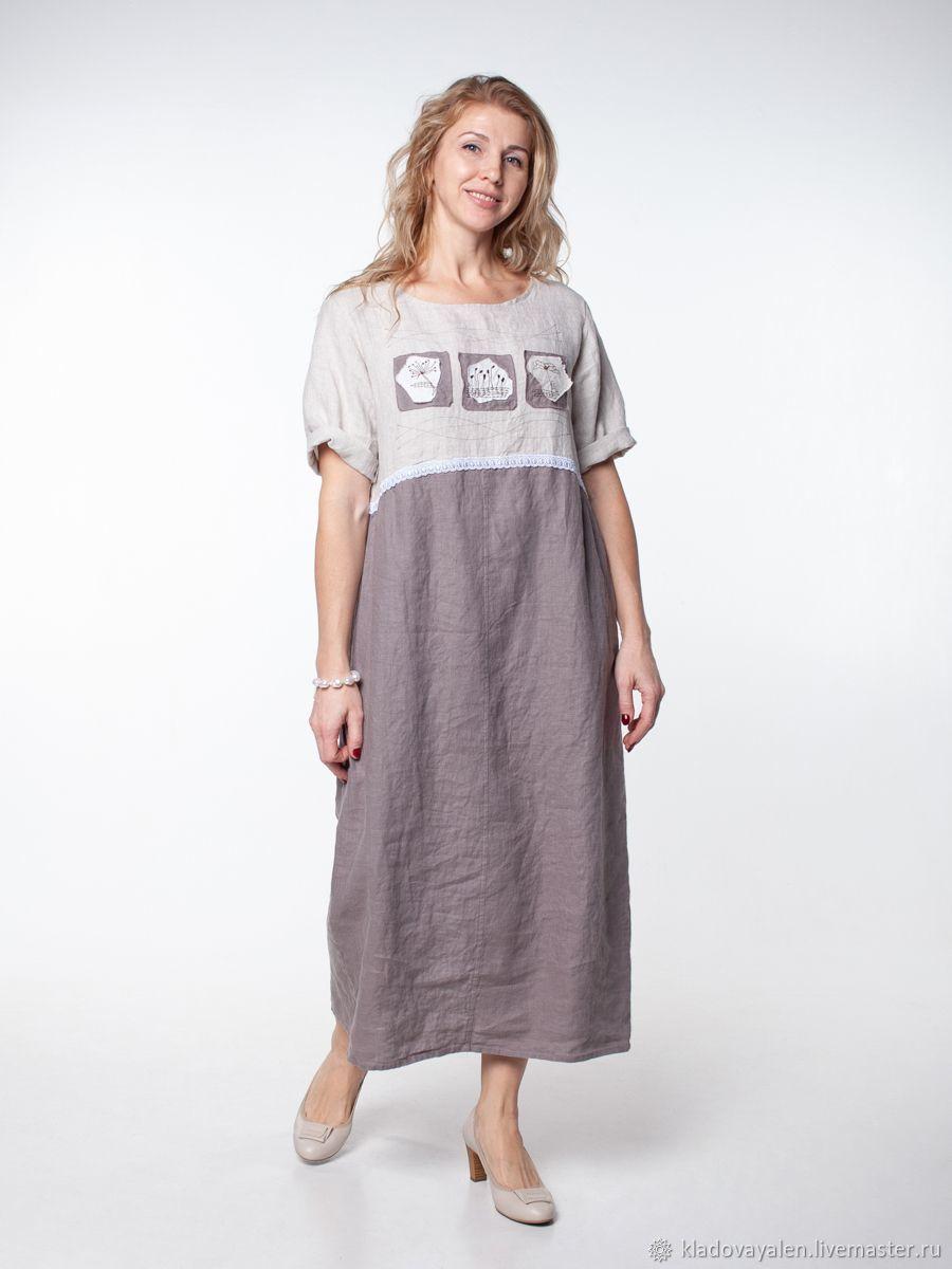 Платье арт. 3105,  вываренный лен, Платья, Кострома,  Фото №1