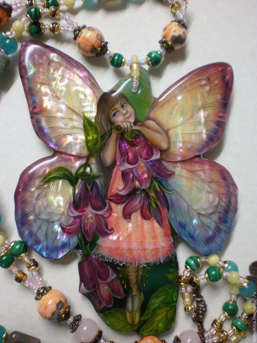 """Кулоны, подвески ручной работы. Ярмарка Мастеров - ручная работа. Купить Колье""""Маленькая бабочка с колокольчиками """". Handmade. Розовый, подарок"""