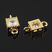 Материалы для творчества handmade. Livemaster - original item Connector with zircon 5.2h5.2 mm gold plated South Korea (art. 2827). Handmade.