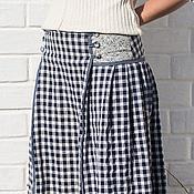 Одежда ручной работы. Ярмарка Мастеров - ручная работа Льняная юбка в клетку бело-синяя. Handmade.