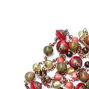 """Украшения ручной работы. Ярмарка Мастеров - ручная работа """"Немного красного"""" элегантные бусы, колье Красный, оливковый, медный. Handmade."""