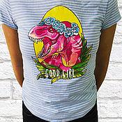 Футболки ручной работы. Ярмарка Мастеров - ручная работа Футболки: Женская футболка с ручной росписью динозавр. Handmade.