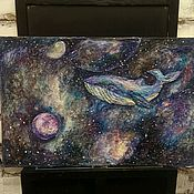 Картины и панно handmade. Livemaster - original item Whale in the sky. Space. Fiction. Tale. Handmade.