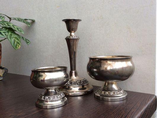 Винтажная посуда. Ярмарка Мастеров - ручная работа. Купить Подсвечник,  две вазы, серебрение, Англия. Handmade. Серебряный, серебро англия