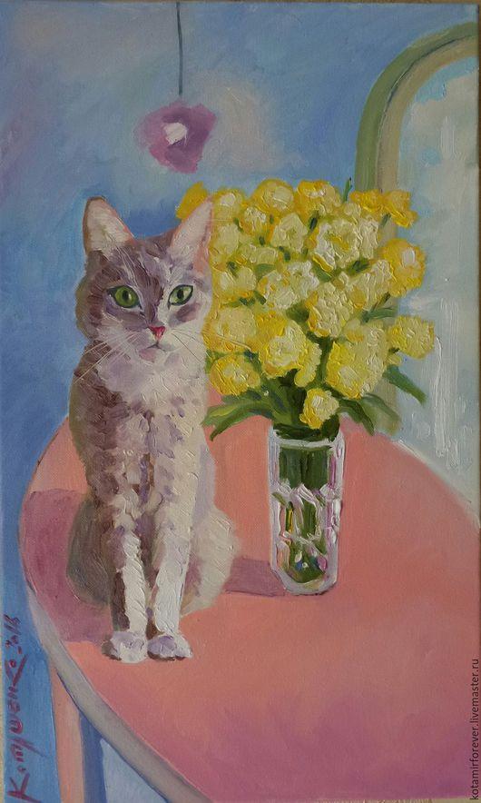 Животные ручной работы. Ярмарка Мастеров - ручная работа. Купить Натюрморт с кошкой. Handmade. Комбинированный, Картины и панно, картина с кошкой