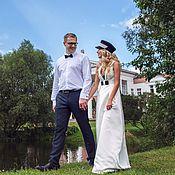 Свадебный салон ручной работы. Ярмарка Мастеров - ручная работа Свадебное платье длинное. Handmade.