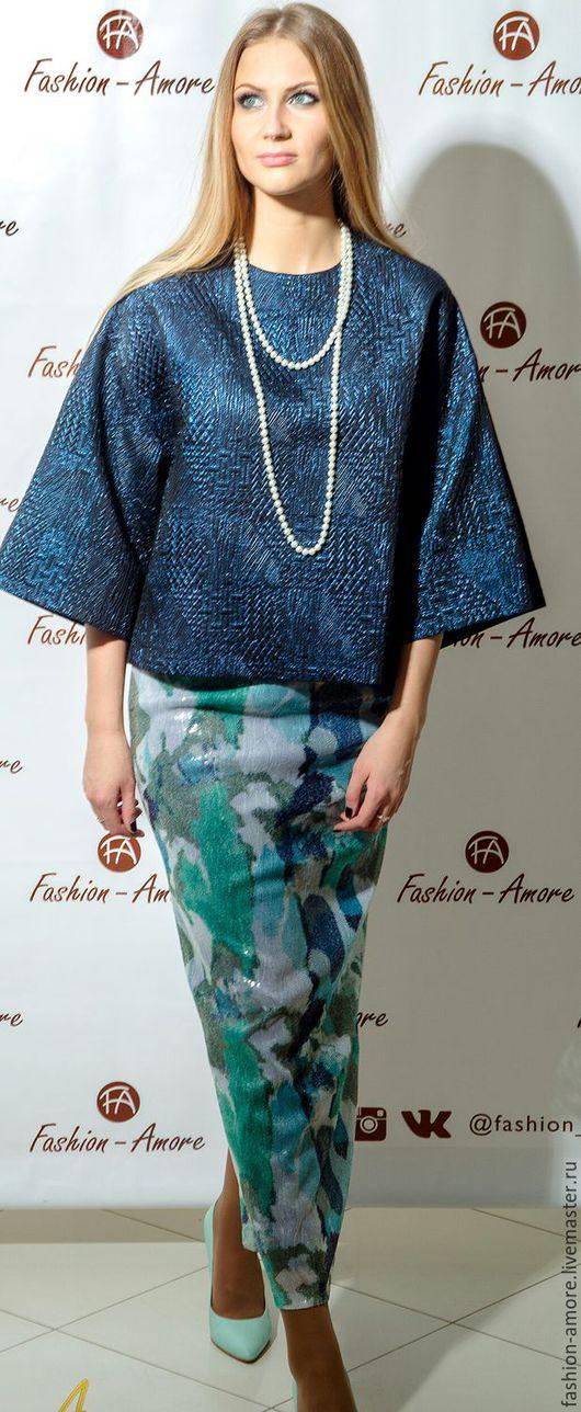 Платья ручной работы. Ярмарка Мастеров - ручная работа. Купить Элегантность. Handmade. Тёмно-синий, блузка нарядная, итальянские ткани