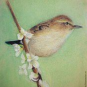 Картины и панно ручной работы. Ярмарка Мастеров - ручная работа Птичка на ветке. Handmade.