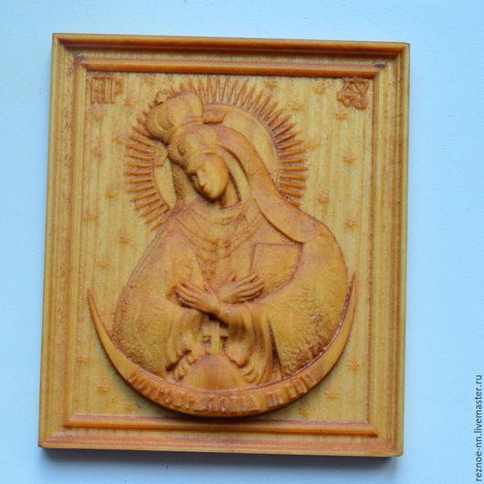 Иконы ручной работы. Ярмарка Мастеров - ручная работа. Купить Резная икона из дерева Остробрамская Богородица. Handmade. Икона