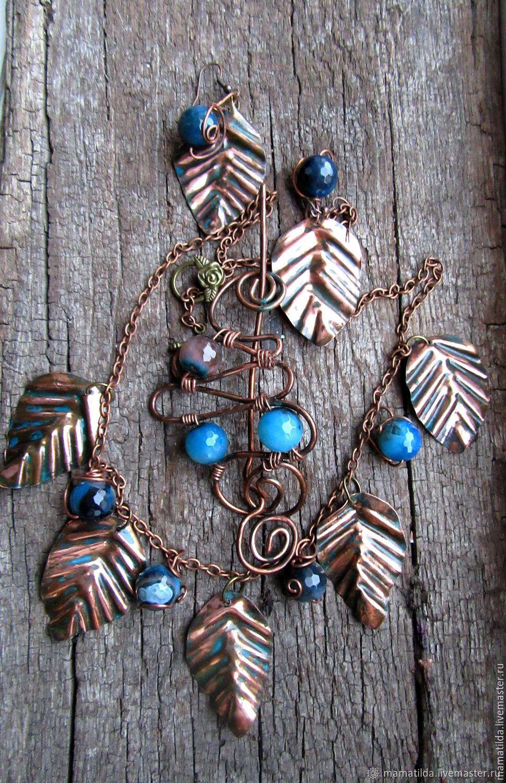 Колье и серьги Лунный свет (медь, агаты), Necklace, Taganrog,  Фото №1