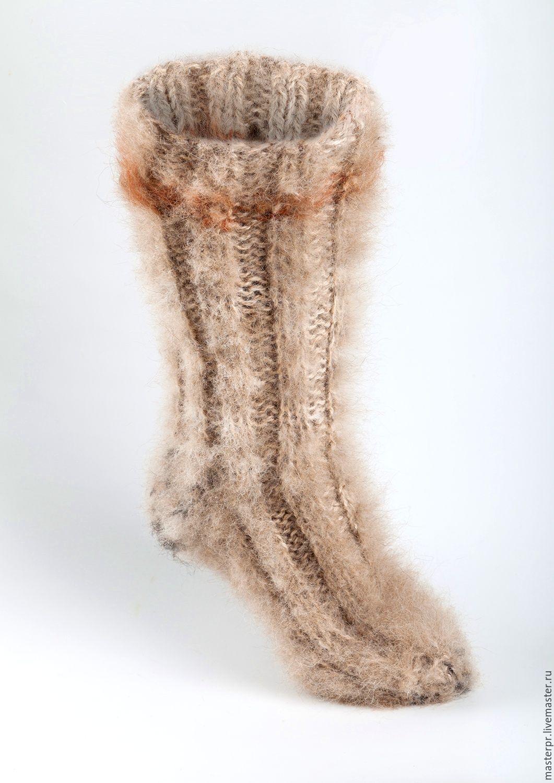 Носки пуховые толстые  «Удачливый  Рыбак» арт№111нм из собачьей шерсти . Носки  вязанные ручной работы для усиленной зимней эксплуатации. Живая нитка