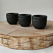 Посуда handmade. Livemaster - original item Set of three stacks - black-flattened ceramic.. Handmade.