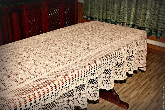 Текстиль, ковры ручной работы. Ярмарка Мастеров - ручная работа. Купить Вязаная скатерть большая. Handmade. Бежевый, Скатерть купить