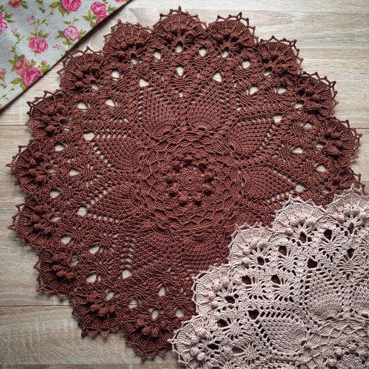 Текстиль, ковры ручной работы. Ярмарка Мастеров - ручная работа. Купить Салфетка крючком коричневого цвета. Handmade. Коричневый, шоколадный