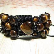 handmade. Livemaster - original item Shambhala bracelet with tiger eye