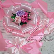 Работы для детей, ручной работы. Ярмарка Мастеров - ручная работа Бант розовый для новорожденной на выписку из роддома. Handmade.