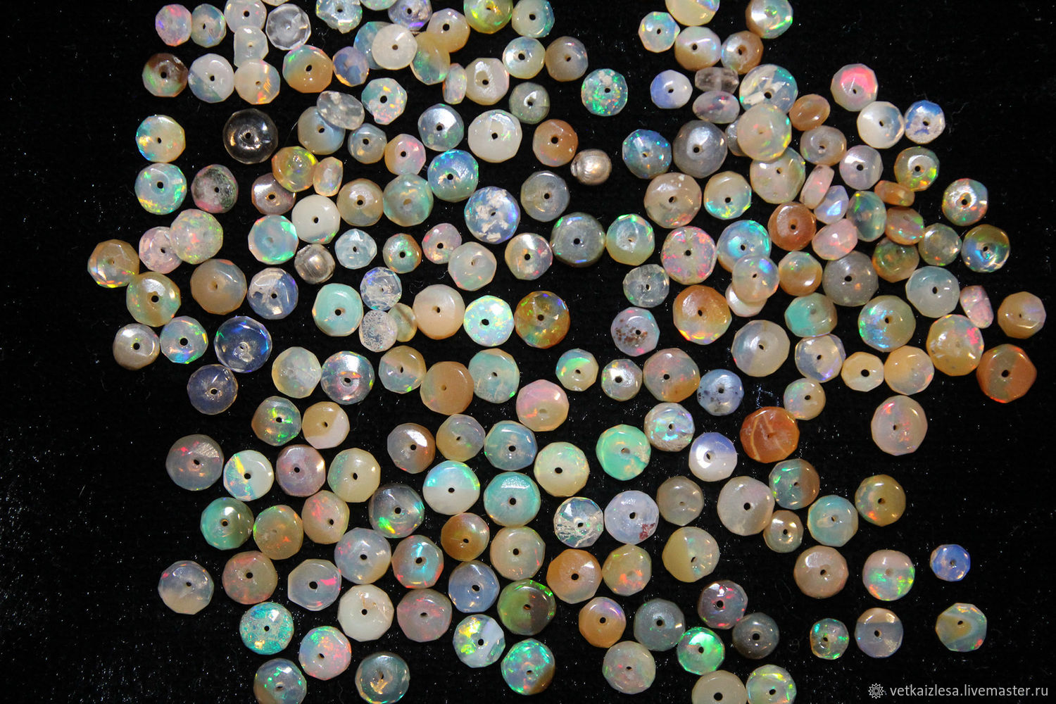 Beads (10 pieces) Indian opal, 3-5 mm, thickness 1-2 mm, Beads1, Moscow,  Фото №1