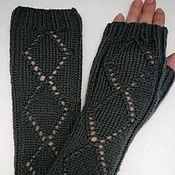 Аксессуары handmade. Livemaster - original item Fingerless long Fishnet square, graphite. Handmade.