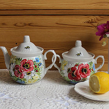 Tableware handmade. Livemaster - original item Set of tableware with painting,