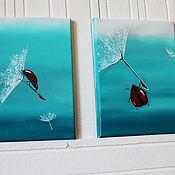 Картины и панно ручной работы. Ярмарка Мастеров - ручная работа Пара мини-картин Один день с божьей коровкой. Handmade.