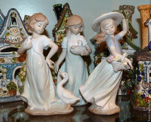 фарфоровые статуэтки девочка с гусями