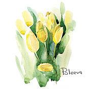 Картины и панно ручной работы. Ярмарка Мастеров - ручная работа Желтые тюльпаны (акварель). Handmade.