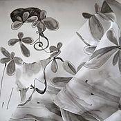 Платки ручной работы. Ярмарка Мастеров - ручная работа Платок Богиня батик шелк черный белый серый монохромный. Handmade.