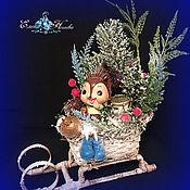"""Подарки к праздникам ручной работы. Ярмарка Мастеров - ручная работа Новогодняя композиция """"Лесной музыкант"""" Декоративная композиция. Handmade."""