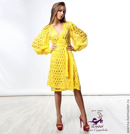 """Платья ручной работы. Ярмарка Мастеров - ручная работа. Купить Платье-пальто вязаное """"Солнечно-желтое"""" из итальянского мохера. Handmade."""