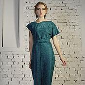 Одежда ручной работы. Ярмарка Мастеров - ручная работа Платье жаккардовое изумрудное. Handmade.
