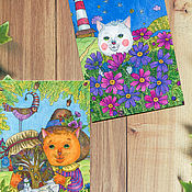 Открытки handmade. Livemaster - original item Greeting cards with original prints. Individually, you can collect your own set. Handmade.