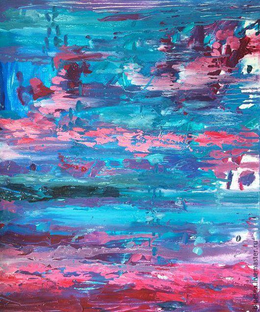 Абстракция ручной работы. Ярмарка Мастеров - ручная работа. Купить красные рыбы. Handmade. Тёмно-бирюзовый, морская глубина