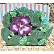Для дома и интерьера handmade. Livemaster - original item Carved napkin holder Pansy. Handmade.