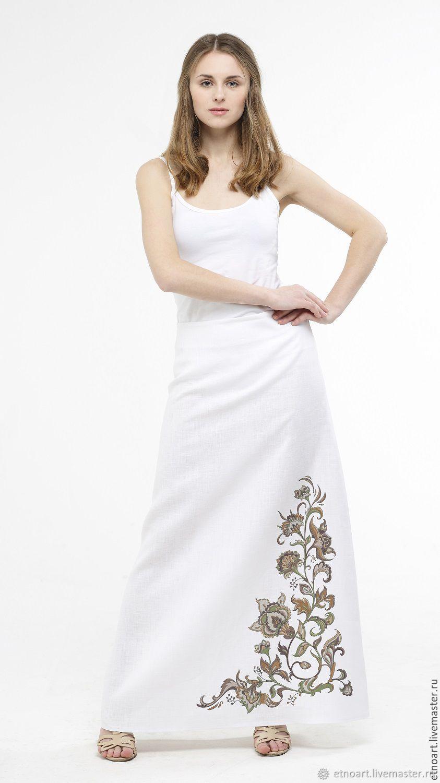 Skirt linen A-line designer print, Skirts, Tomsk,  Фото №1