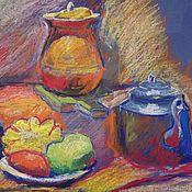 Картины ручной работы. Ярмарка Мастеров - ручная работа Картина С Синим Чайником И Овощами. Handmade.