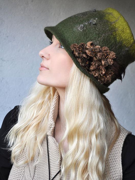 """Шляпы ручной работы. Ярмарка Мастеров - ручная работа. Купить Шляпка """"Таинственный лес"""". Handmade. Шапка, Елена Ост, цветок"""