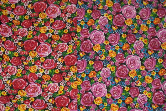 """Шитье ручной работы. Ярмарка Мастеров - ручная работа. Купить Хлопок """"Розы на черном"""" бязь. Handmade. Отрез ткани"""