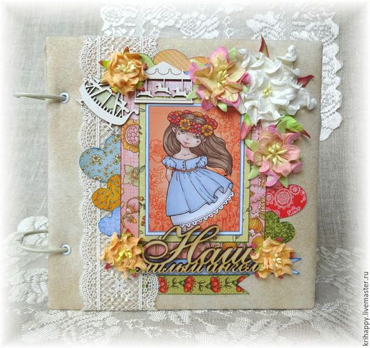 """Фотоальбомы ручной работы. Ярмарка Мастеров - ручная работа. Купить Фотоальбом для девочки """"Наш милый ангел"""". Handmade. Разноцветный, трогательный"""