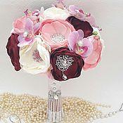 Свадебный салон handmade. Livemaster - original item Wedding brooch bouquet of orchids. Handmade.