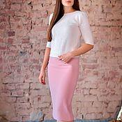 Одежда ручной работы. Ярмарка Мастеров - ручная работа Юбка, юбка карандаш розовая юбка миди, юбка деловая. Handmade.