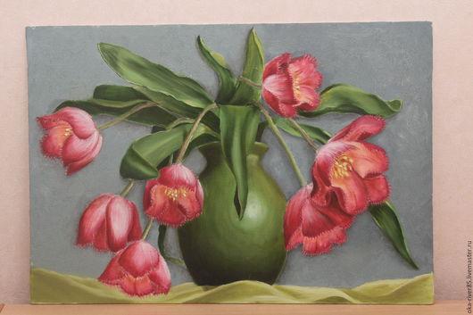 Картины цветов ручной работы. Ярмарка Мастеров - ручная работа. Купить Букет тюльпанов. Handmade. Комбинированный, ручная работа